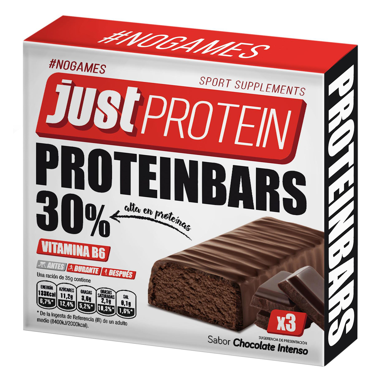 Barritas sabor chocolate intenso Just Protein pack de 3 barritas de 35 g.