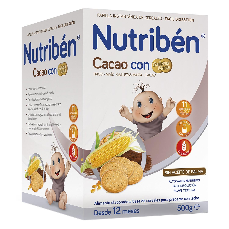 Papilla de cacao con galletas María Nutribén 500 g.