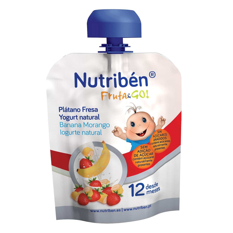 Preparado de plátano, fresa y yogur natural desde 12 meses Nutribén Fruta & Go bolsita de 90 g.