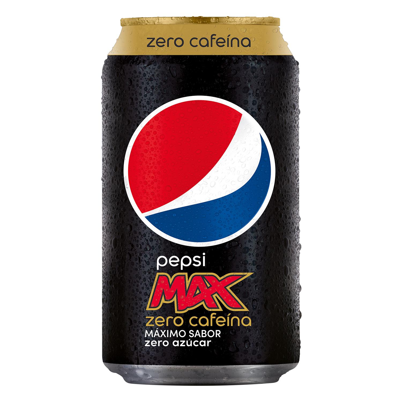 Refresco de cola Pepsi Max zero cafeína zero azúcar lata 33 cl.