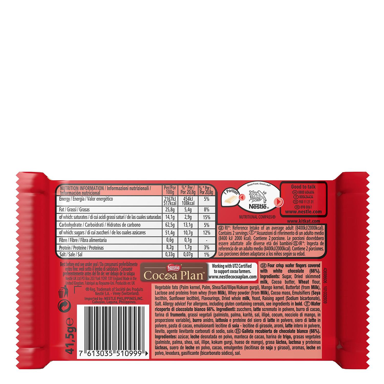 Barrita de galleta crujiente cubierta de chocolate blanco -