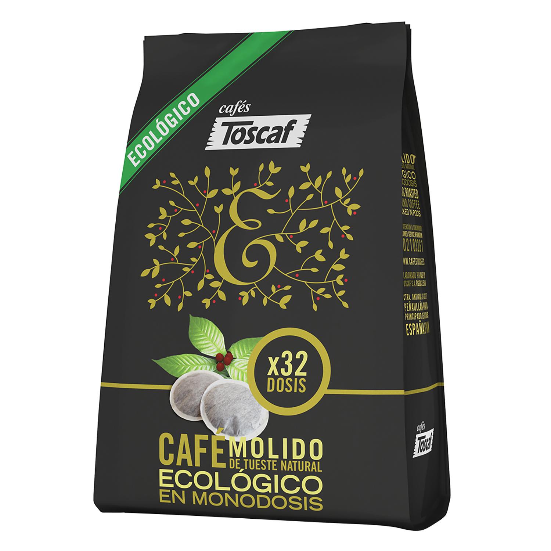 Café molido natural ecológico monodosis Toscaf 32 unidades de 7 g.