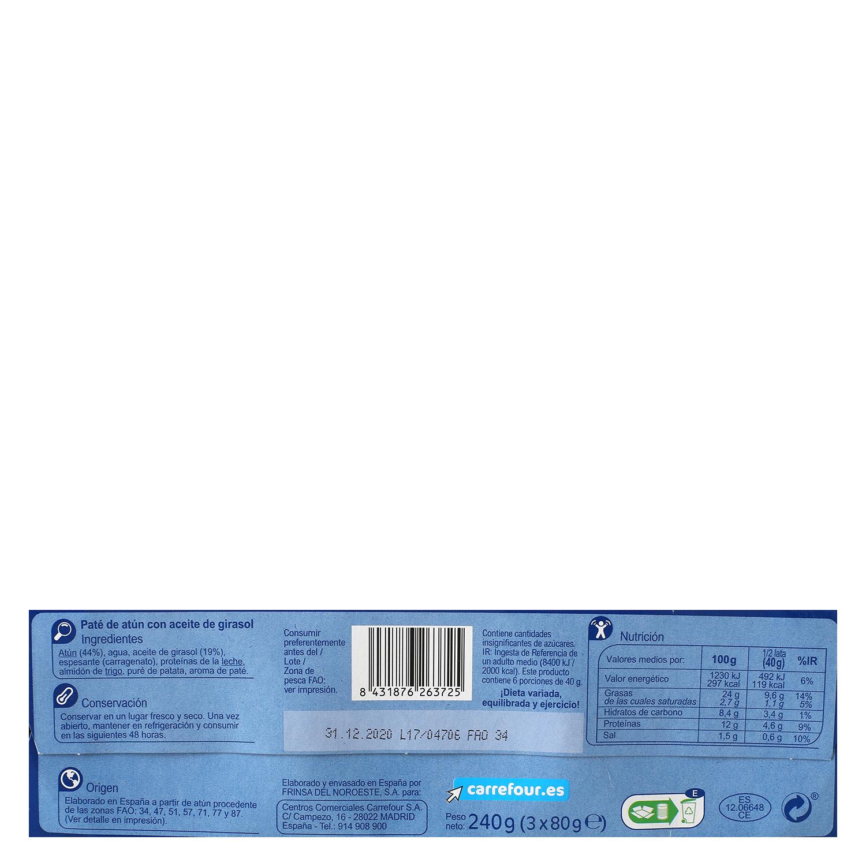 Paté de atún con aceite de girasol Carrefour pack de 3 unidades de 80 g. -
