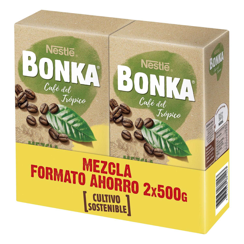 Café molido mezcla cultivo sostenible Nestlé Bonka pack de 2 unidades de 500 g.