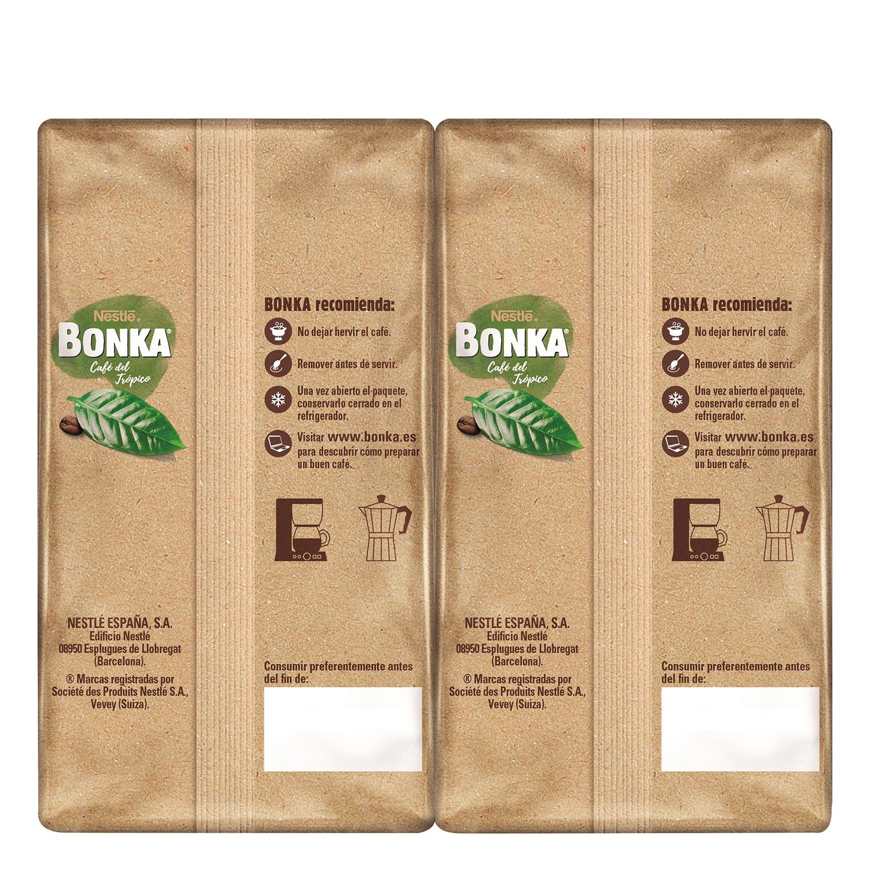 Café molido mezcla cultivo sostenible Nestlé Bonka pack de 2 unidades de 500 g. -
