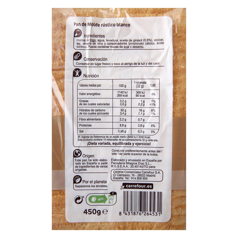 Pan rústico Carrefour 450 g. -