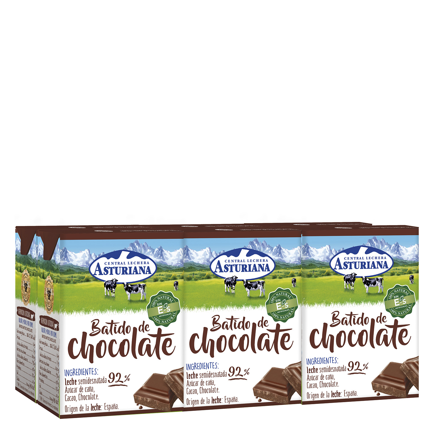 Batido de chocolate Central Lechera Asturiana pack de 6 briks de 200 ml.