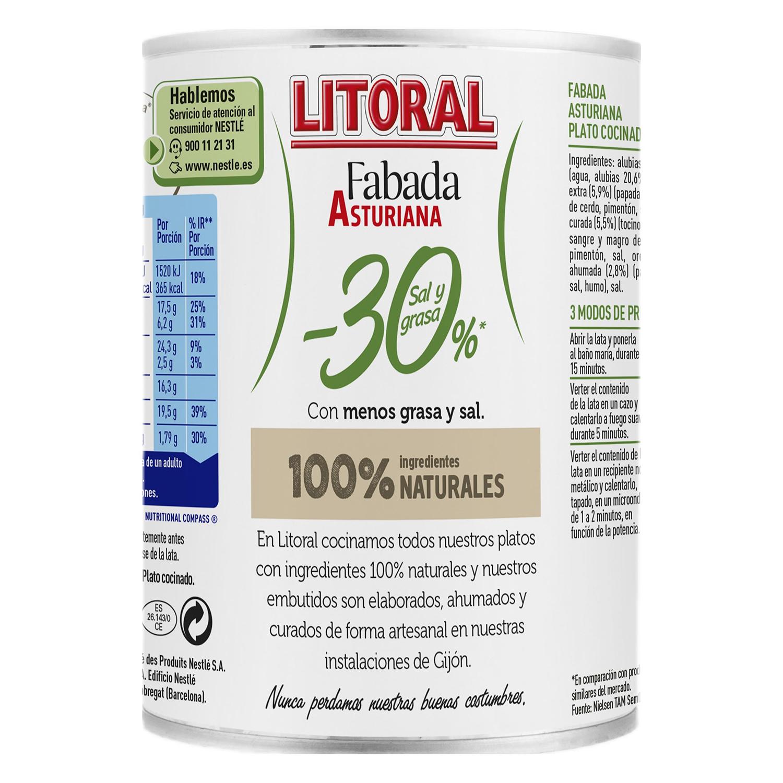 Fabada asturiana 30% menos de sal y grasa Litoral 435 g. -