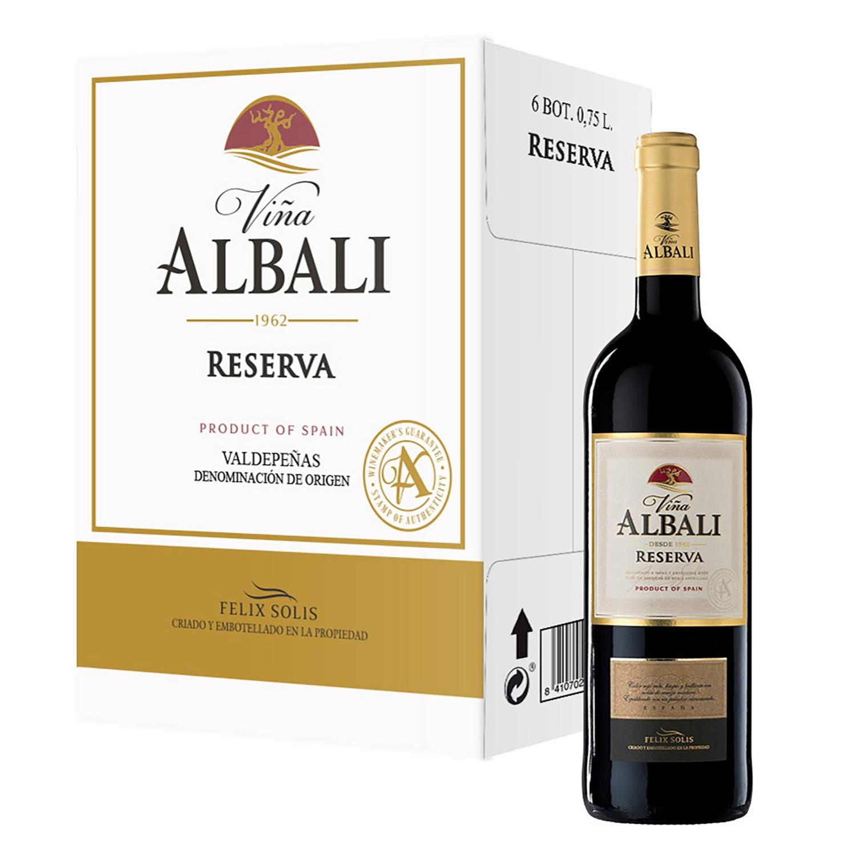 Vino D.O. Valdepeñas tinto reserva Viña Albali pack de 6 botellas de 75 cl.