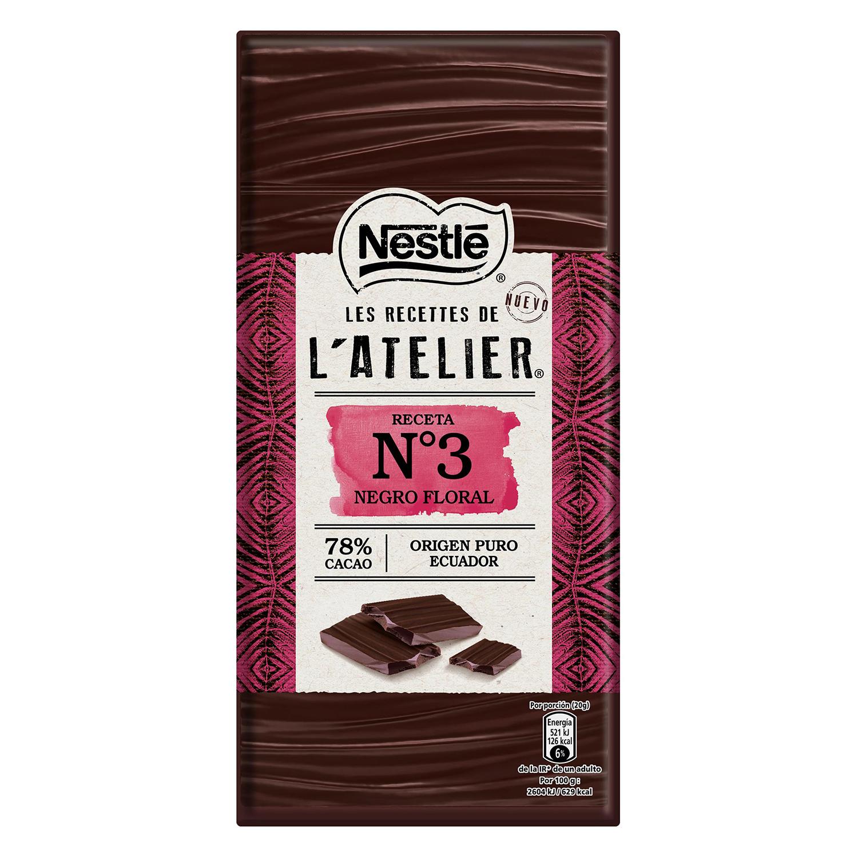 Chocolate negro floral 78% cacao Les recettes de l'atelier