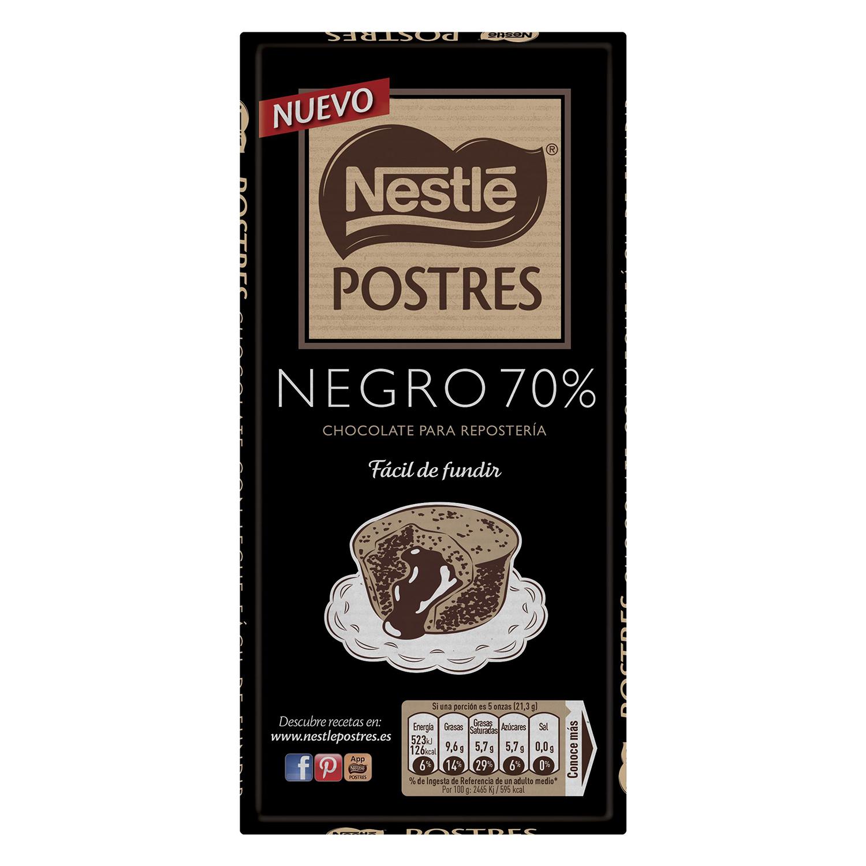 Chocolate negro 70% postres