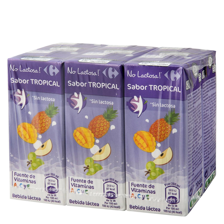 Zumo de fruta y leche Carrefour Tropical sin lactosa pack de 6 briks de 20 cl.