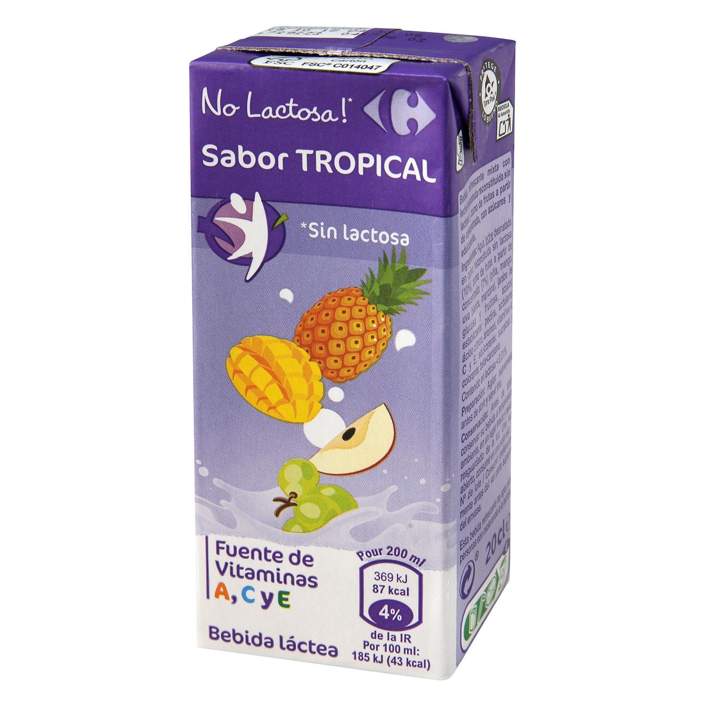 Zumo de fruta y leche Carrefour Tropical sin lactosa pack de 6 briks de 20 cl. -