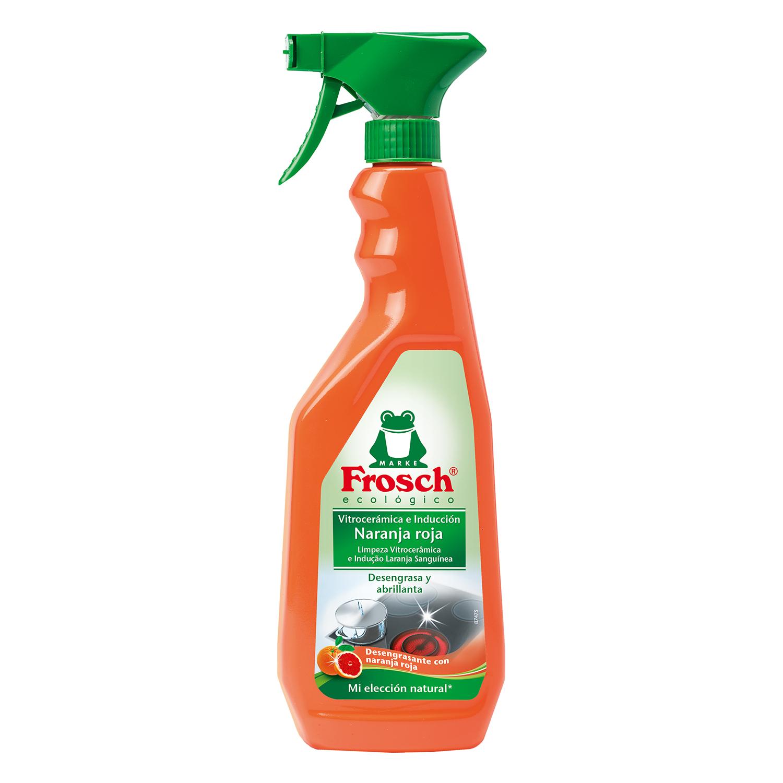 Limpiador de vitrocerámica e inducción aroma naranja roja ecológico Frosch 750 ml.