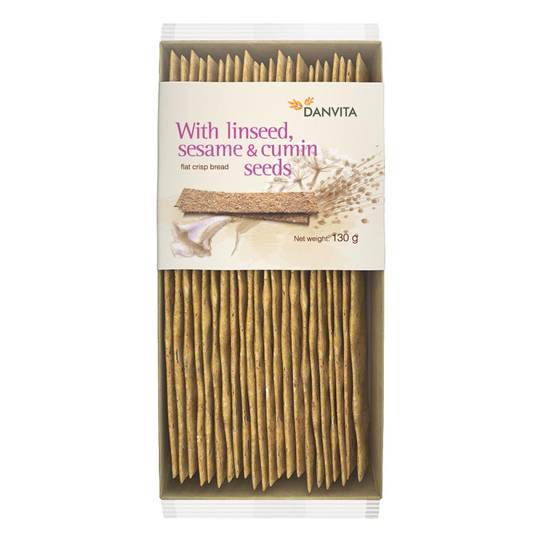 Pan crujiente semillas de sésamo, lino y alcaravea