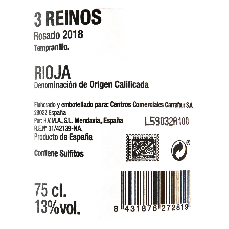 Vino D.O. Rioja rosado 3 Reinos 75 cl. -