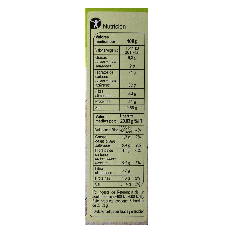 Barritas de cereales con chocolate y naranja Carrefour 6 unidades de 25 g. -
