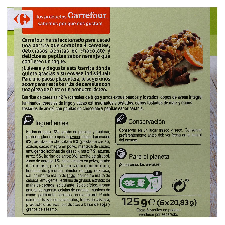 Barritas de cereales con chocolate y naranja Carrefour 6 unidades de 25 g. - 2