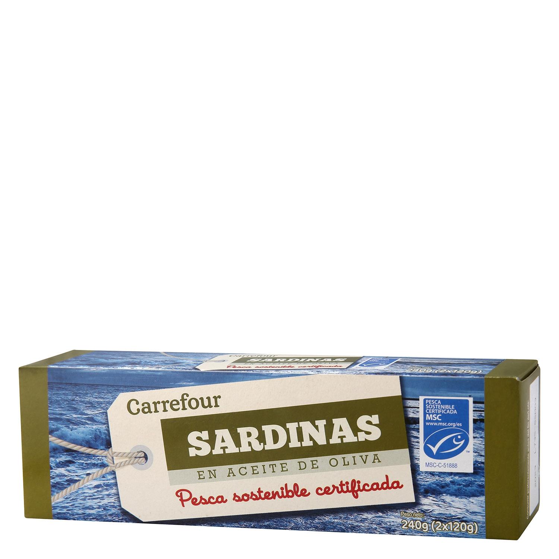 Sardinas en aceite de oliva Carrefour pack de 2 unidades de 84 g.