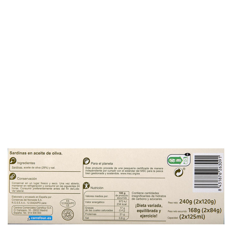 Sardinas en aceite de oliva Carrefour pack de 2 unidades de 84 g. -