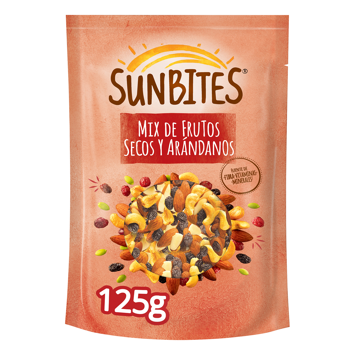 Cocktail de frutos secos y arándanos Sunbites 125 g.