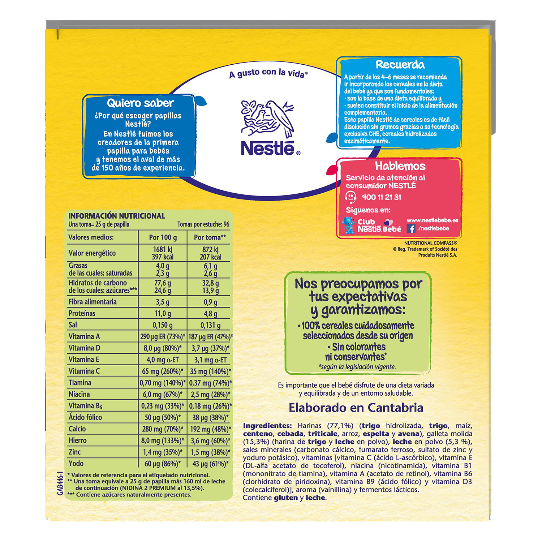 Papilla de 8 cereales con galleta maría en polvo Nestlé 2,4 kg. -