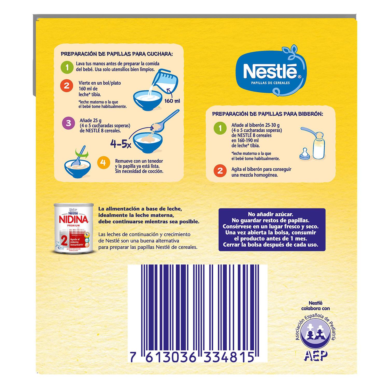 Papilla de 8 cereales en polvo Nestlé 2,4 kg. -