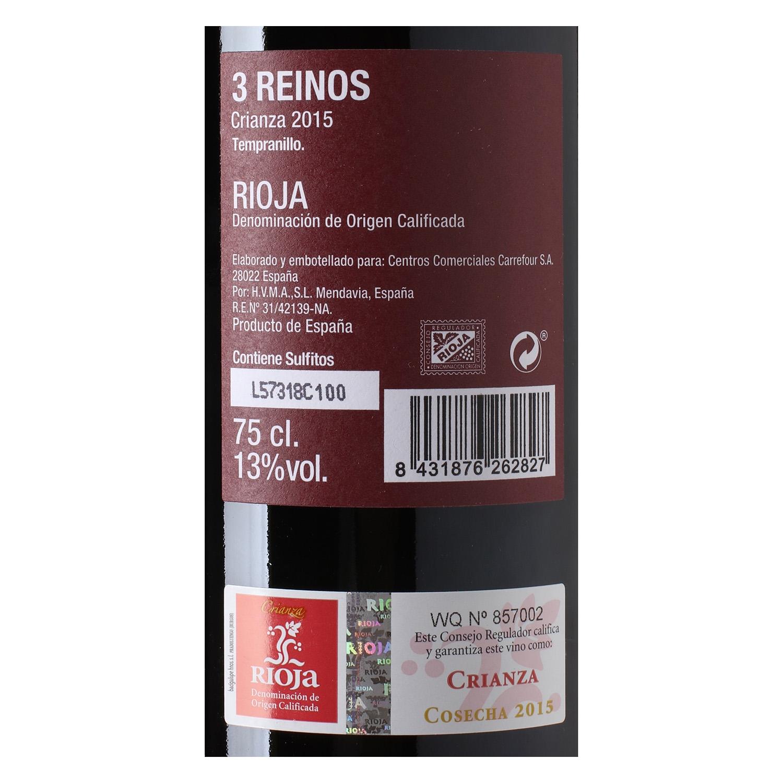 Vino D.O. Rioja tinto crianza 3 Reinos 75 cl. -