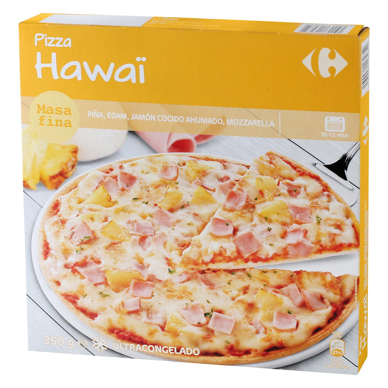 Pizza Hawaï masa fina de piña, edam, jamón cocido ahumado, mozzarella Carrefour 350 g.