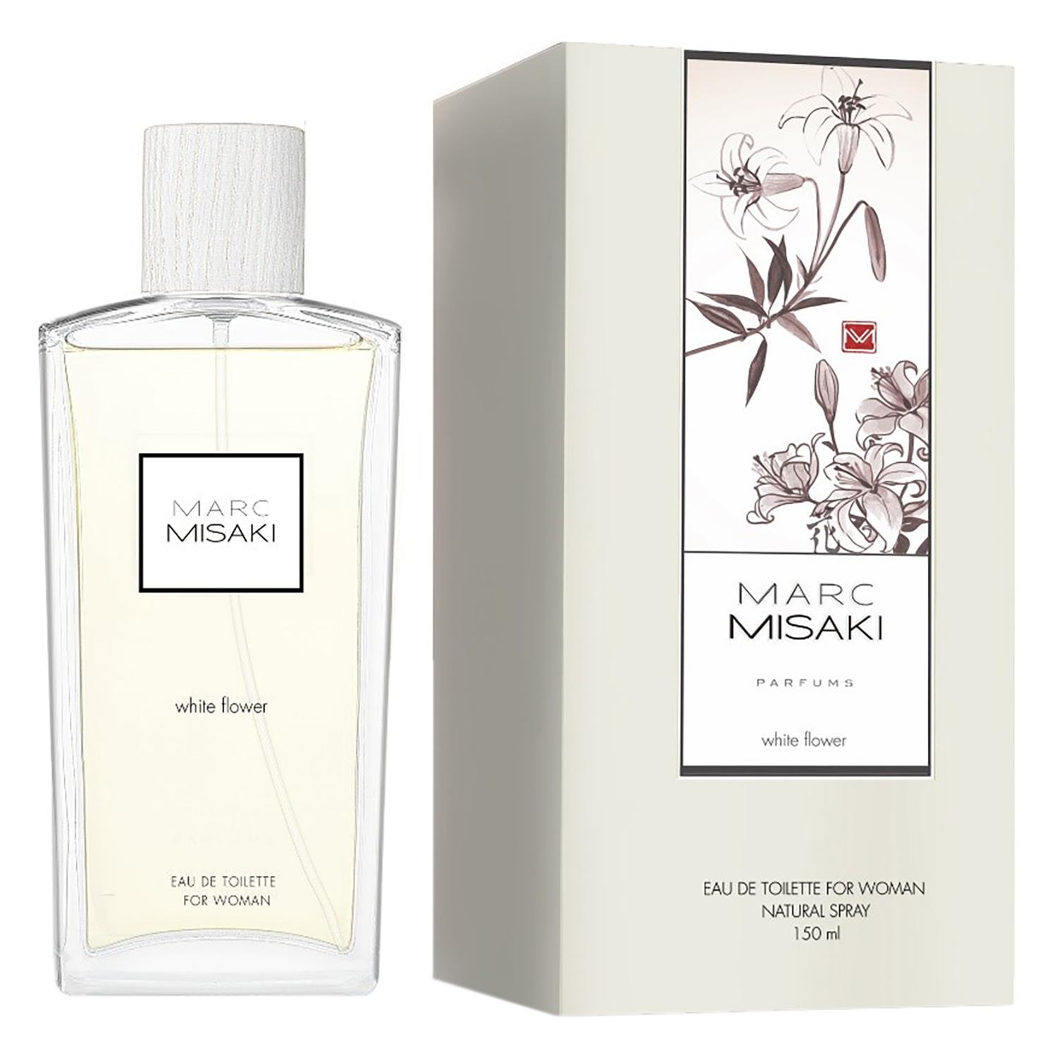 Colonia white flower para mujeres Marc Misaki 150 ml.