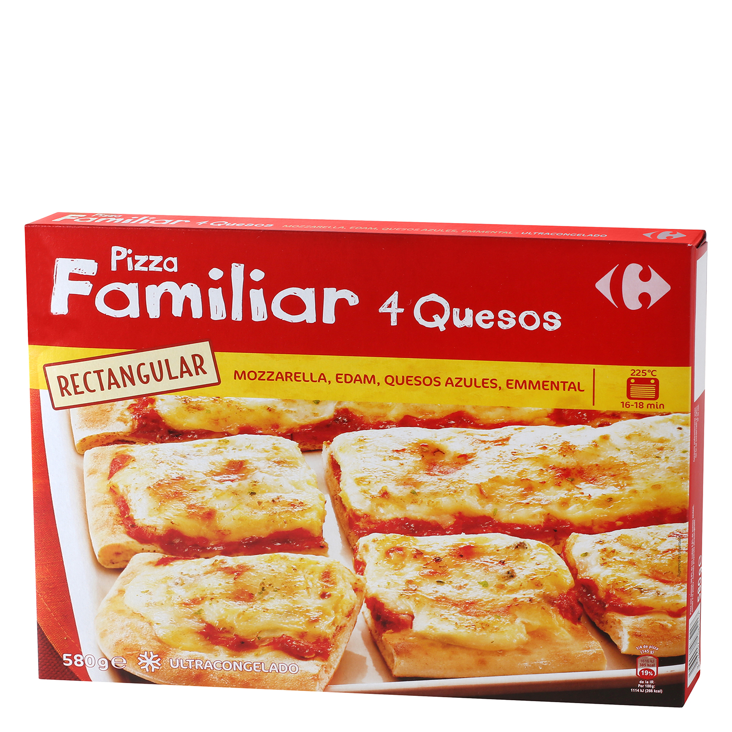 Pizza familiar rectangular 4 quesos