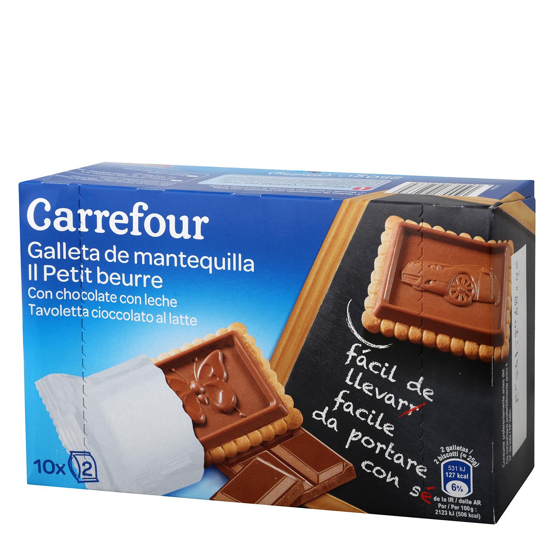 Galletas de mantequilla con chocolate con leche Carrefour 250 g.