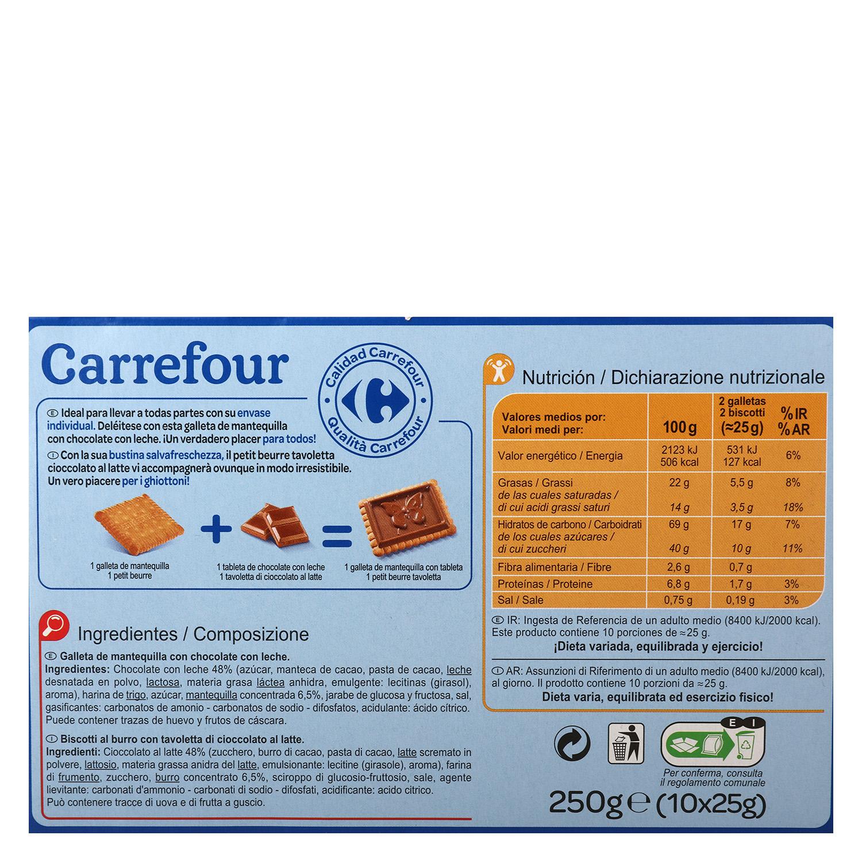 Galletas de mantequilla con chocolate con leche Carrefour 250 g. -