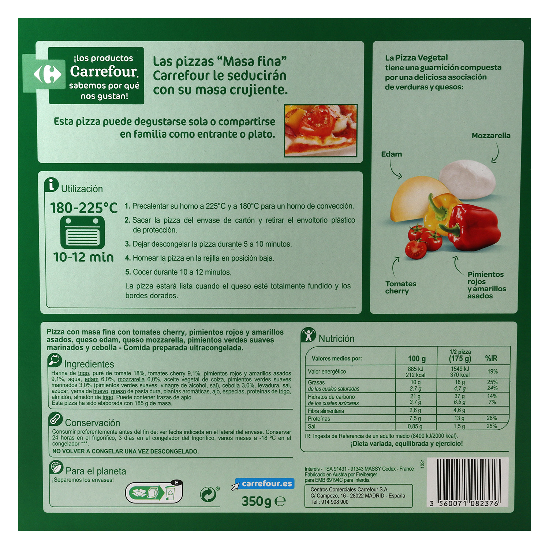 Pizza vegetal masa fina Carrefour 350 g. -