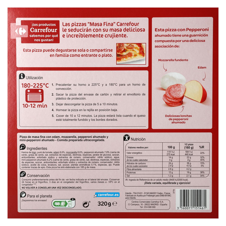 Pizza peperoni ahumado Carrefour 320 g. -