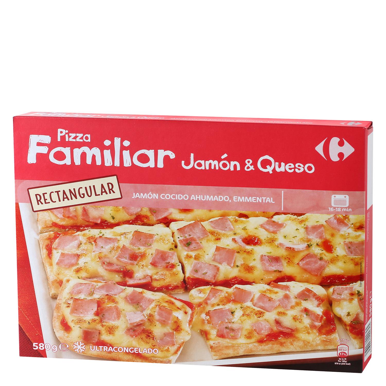 Pizza familiar rectangular Jamón & Queso Carrefour - Carrefour ...