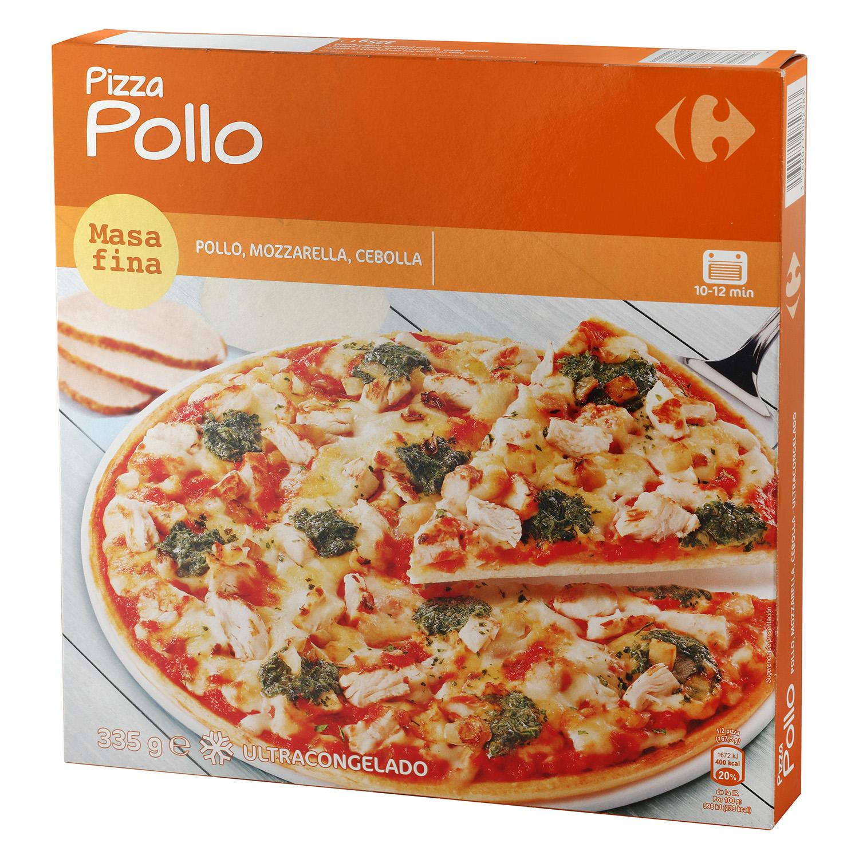 Pizza de pollo masa fina Carrefour 335 g.