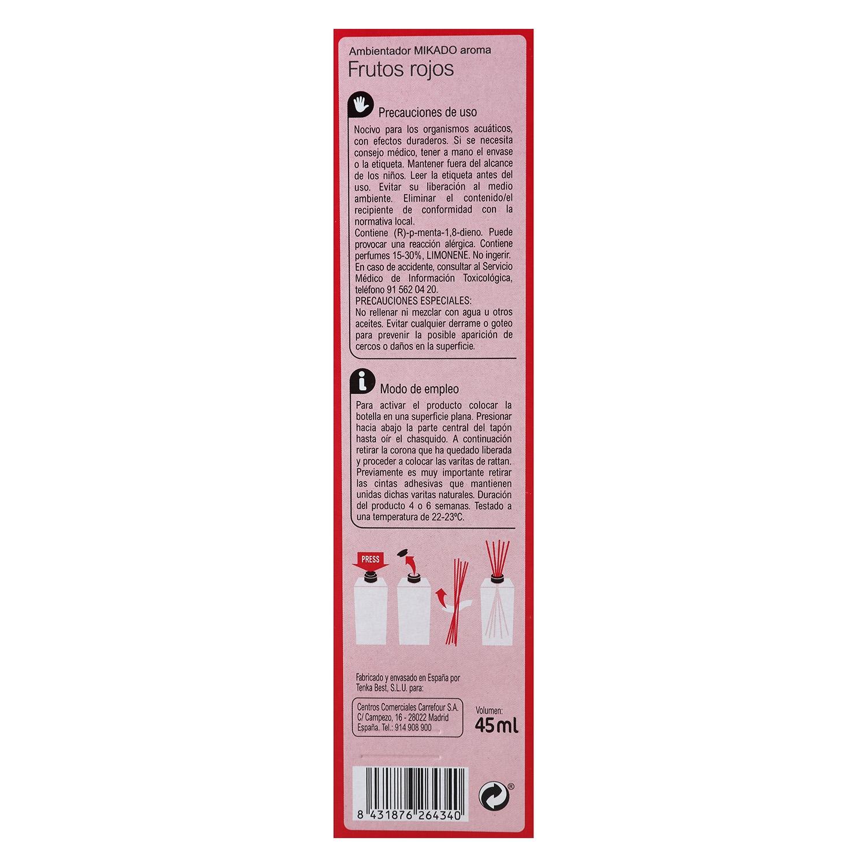 Ambientador varillas Frutos rojos Carrefour 45 ml. -