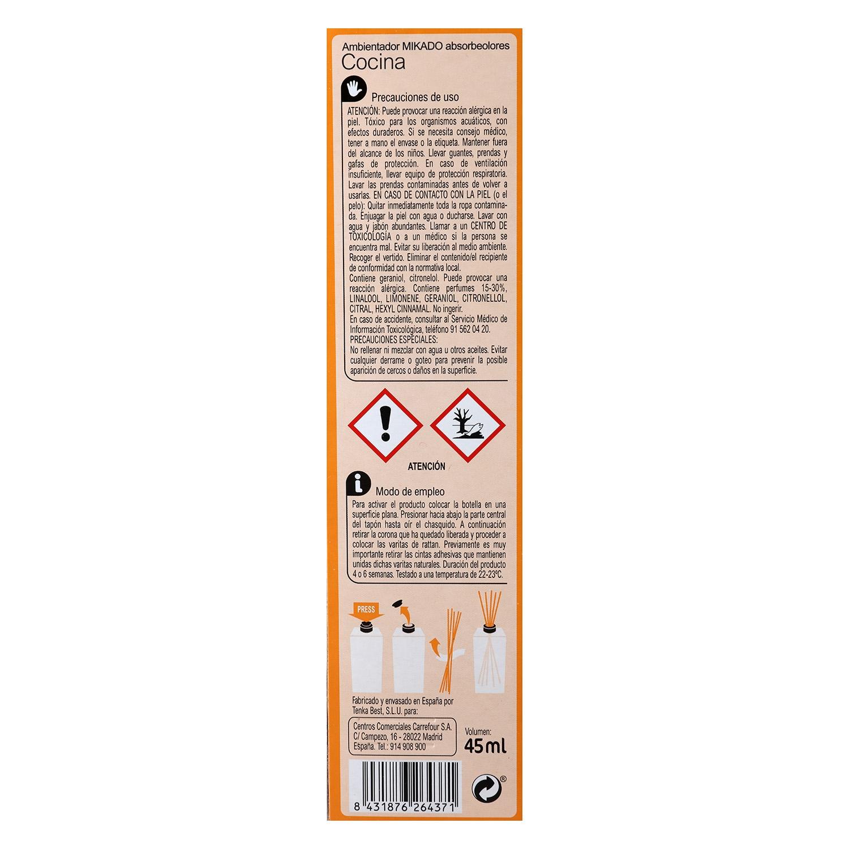 Ambientador varillas absorbeolores cocina Carrefour 45 ml. -