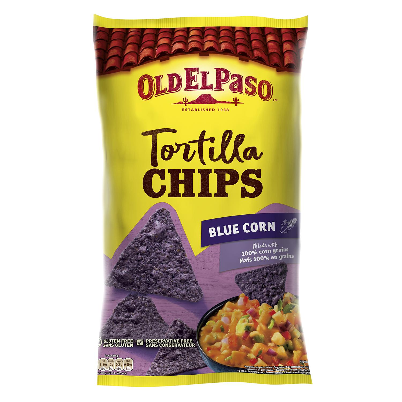 Nachos de maíz azul Old El Paso sin gluten 150 g.