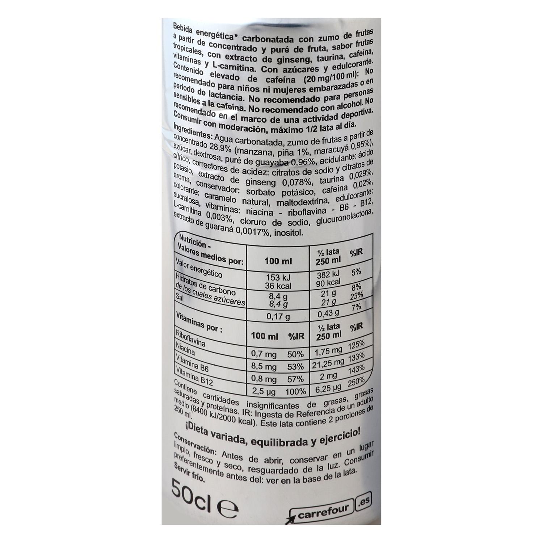 Bebida energética Carrefour Energy sabor tropical 50 cl. -