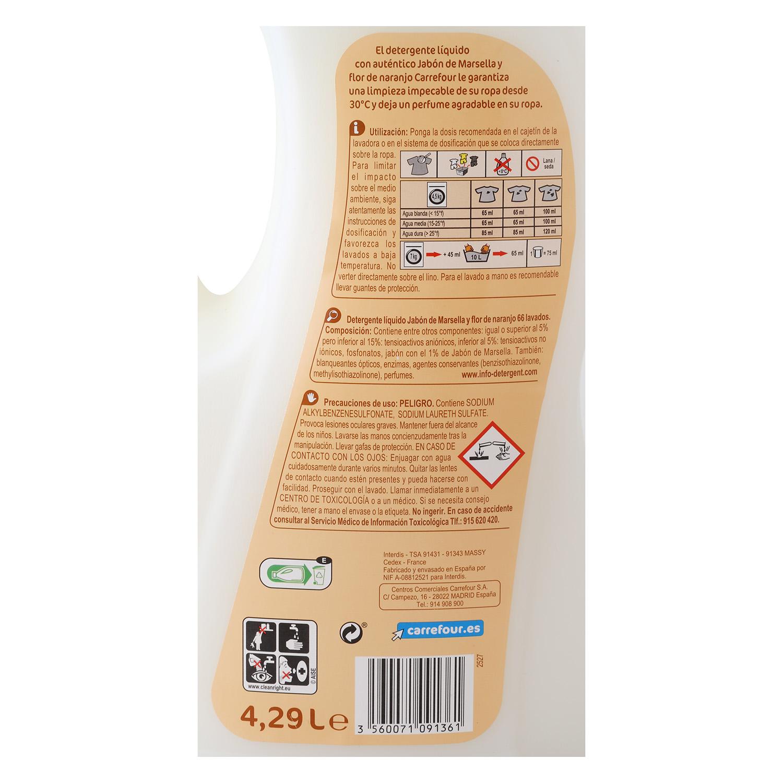 Detergente líquido con jabón de Marsella y flor de naranjo Carrefour 66 lavados. -