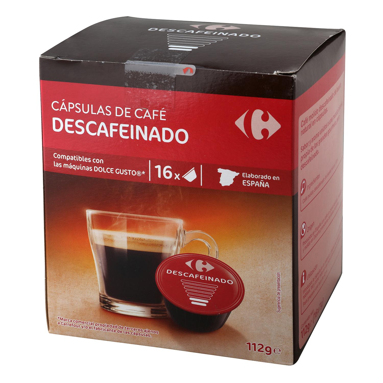 Café descafeinado en cápsulas Carrefour compatible con Dolce Gusto 16 unidades de 7 g.