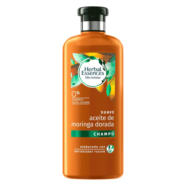 Champú Suave Aceite de moringa dorada renew ecológico Herbal Essences 400 ml.