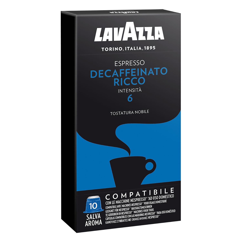 Café descafeinado en cápsulas Lavazza compatible con Nespresso 10 unidades de 5 g.