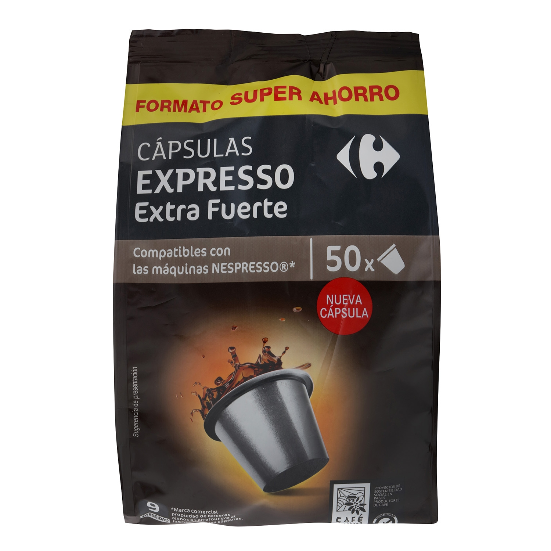 Café extrafuerte en cápsulas Carrefour compatible con Nespresso 50 unidades de 5,2 g.