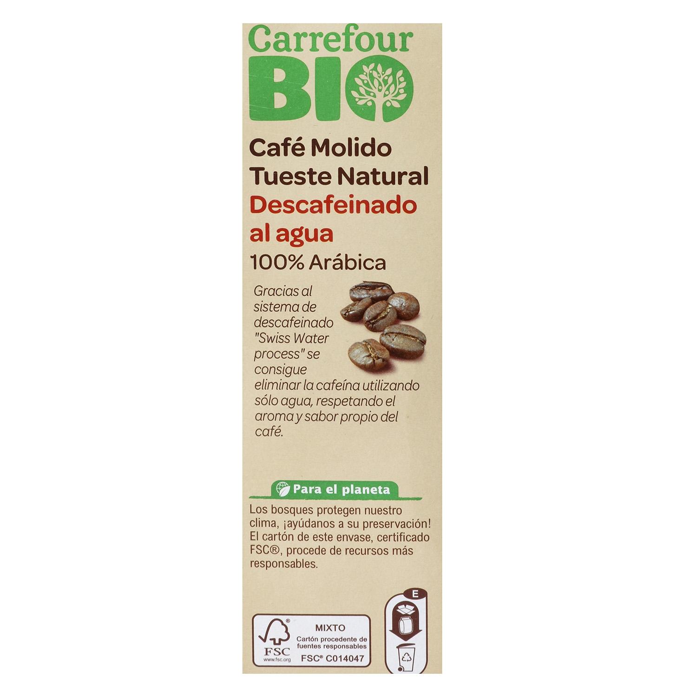Café molido natural descafeinado arábica Bio -