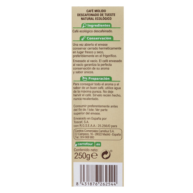 Café molido natural descafeinado arábica Bio - 2