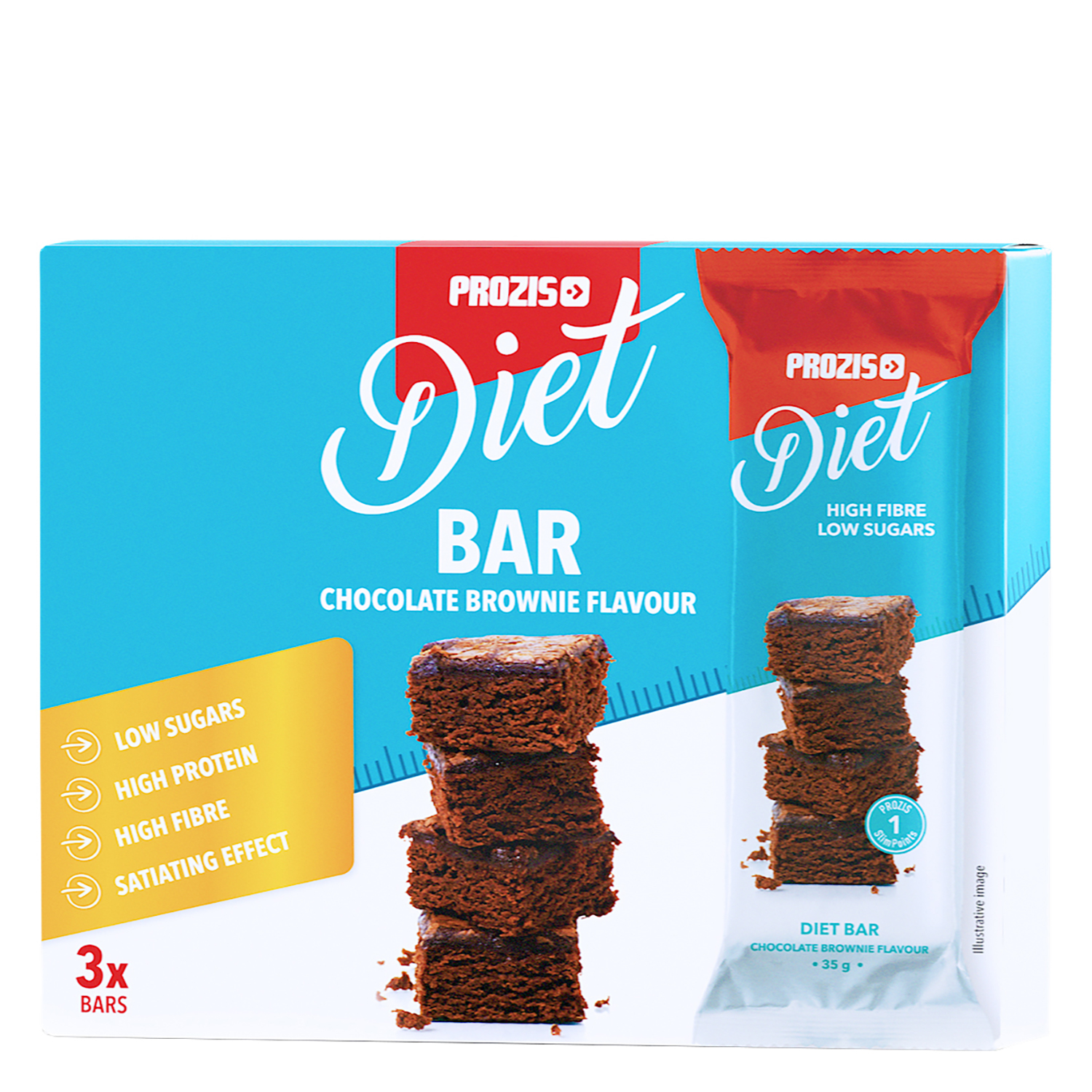 Barrita saciante sabor brownie de chocolate Prozis pack de 3 barritas de 35 g.