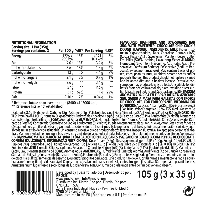 Barrita saciante con pepitas de chocolate Prozis pack de 3 barritas de 35 g. -